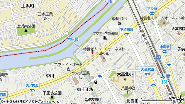 愛知県名古屋市緑区大高町下塩田周辺の地図