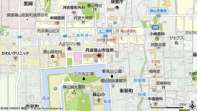 兵庫県篠山市周辺の地図