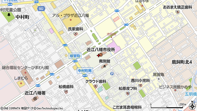 滋賀県近江八幡市周辺の地図