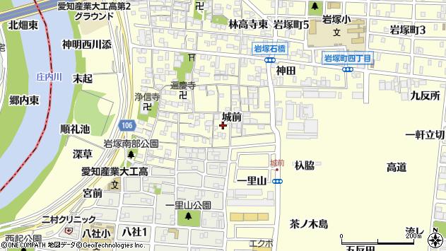 愛知県名古屋市中村区岩塚町城前周辺の地図