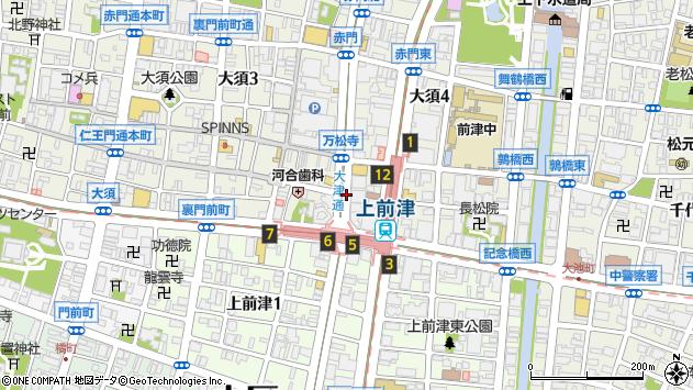 愛知県名古屋市中区大須4丁目11周辺の地図