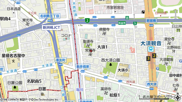 愛知県名古屋市中区大須1丁目25-14周辺の地図