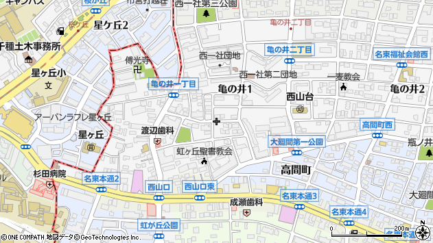 愛知県名古屋市名東区亀の井1丁目周辺の地図