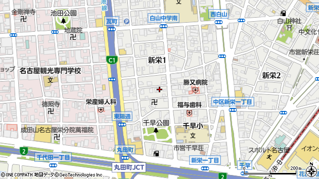 愛知県名古屋市中区新栄1丁目周辺の地図