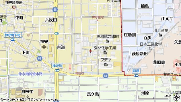 愛知県津島市神守町中ノ折周辺の地図