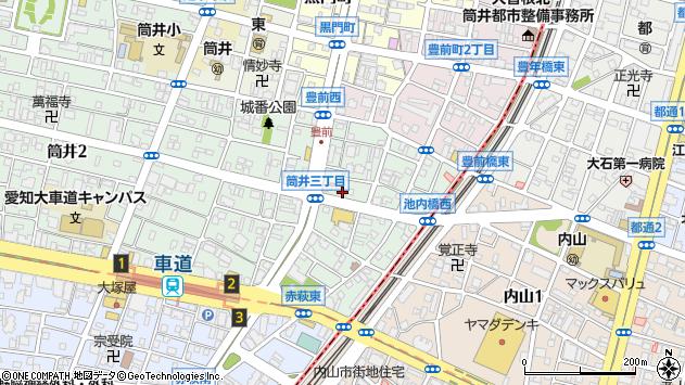 愛知県名古屋市東区筒井3丁目周辺の地図