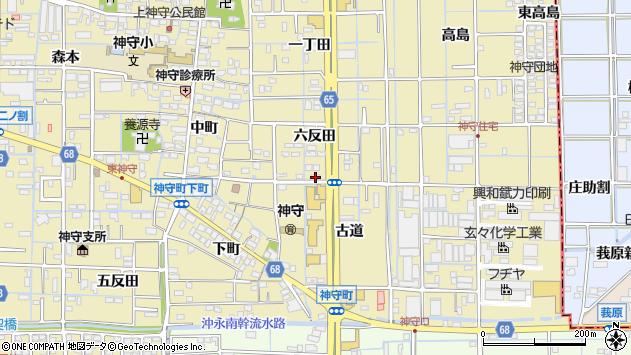 愛知県津島市神守町六反田21周辺の地図