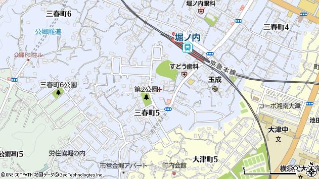 神奈川県横須賀市三春町5丁目19周辺の地図