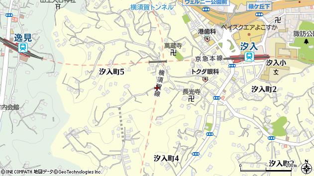 神奈川県横須賀市汐入町5丁目周辺の地図