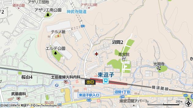神奈川県逗子市沼間2丁目7周辺の地図