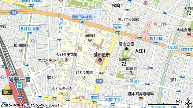 愛知県一宮市周辺の地図