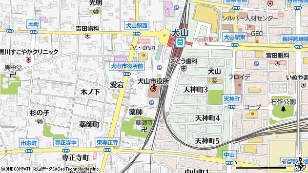 愛知県犬山市周辺の地図