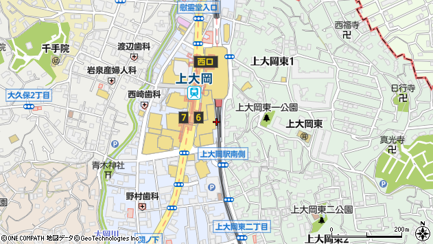 神奈川県横浜市港南区上大岡西1丁目6周辺の地図