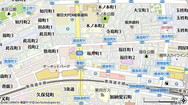 岐阜県岐阜市坂井町1丁目周辺の地図