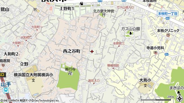 神奈川県横浜市中区本郷町3丁目112周辺の地図