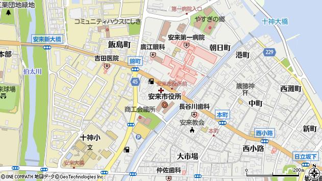 島根県安来市周辺の地図