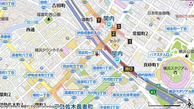 神奈川県横浜市中区羽衣町1丁目2-8周辺の地図