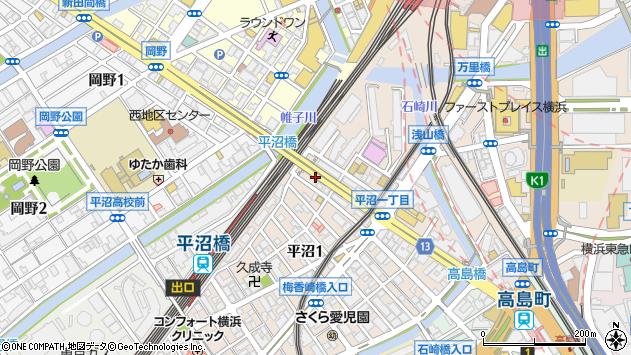 神奈川県横浜市西区平沼1丁目35周辺の地図