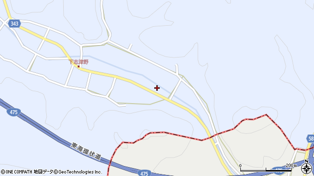 岐阜県関市志津野周辺の地図
