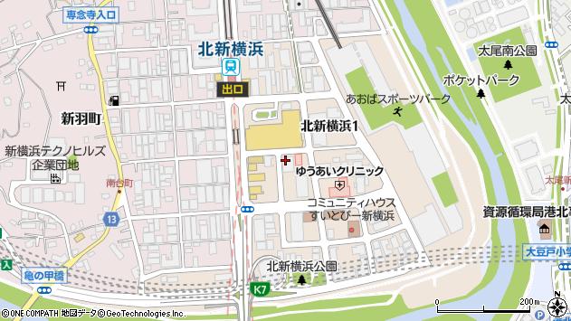 神奈川県横浜市港北区北新横浜1丁目周辺の地図