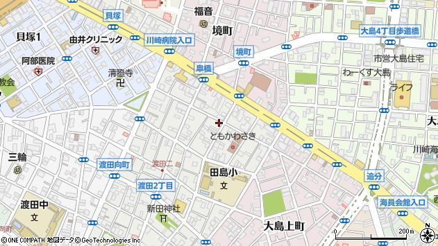 神奈川県川崎市川崎区渡田1丁目周辺の地図