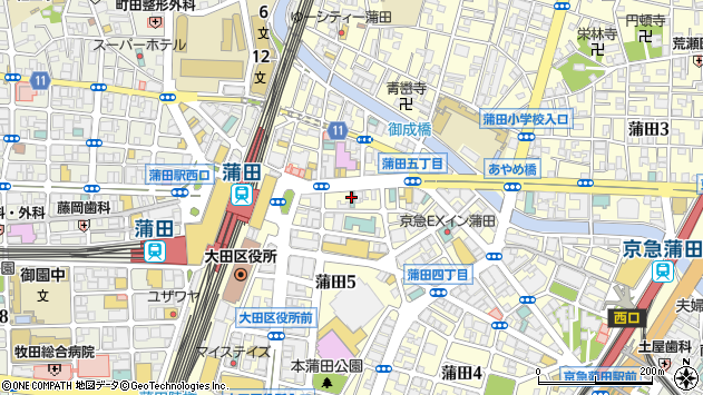 東京都大田区蒲田周辺の地図