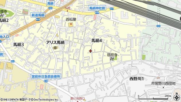 神奈川県川崎市宮前区馬絹周辺の地図