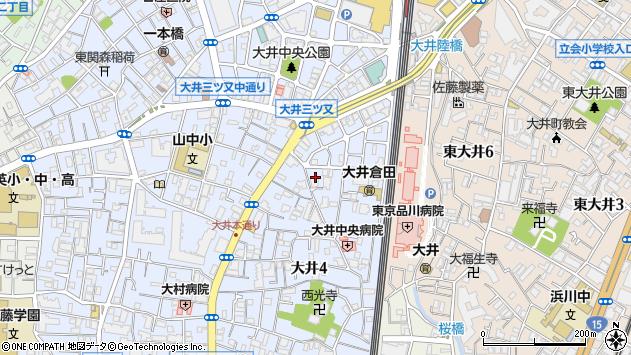 東京都品川区大井4丁目周辺の地図