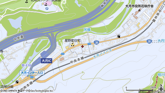 山梨県大月市大月町花咲周辺の地図