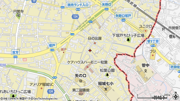 東京都稲城市矢野口周辺の地図