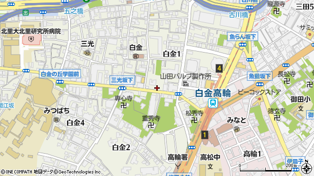 東京都港区白金1丁目25-22周辺の地図