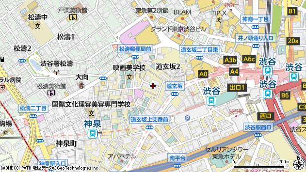 東京都渋谷区道玄坂2丁目周辺の地図