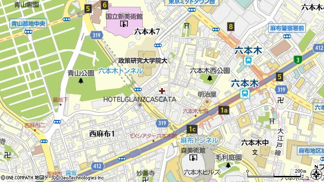 東京都港区六本木7丁目20周辺の地図