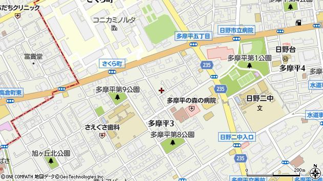 東京都日野市多摩平3丁目周辺の地図