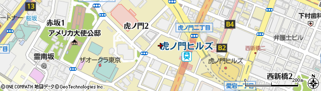 東京都港区虎ノ門2丁目周辺の地図
