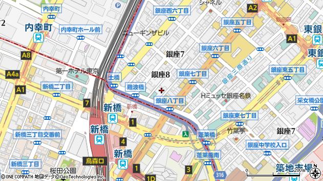 東京都中央区銀座8丁目7周辺の地図