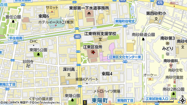 東京都江東区周辺の地図