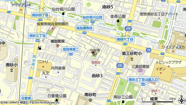 東京都江東区南砂周辺の地図