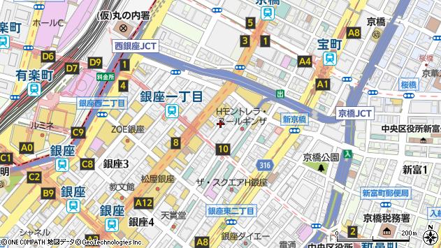 東京都中央区銀座1丁目8周辺の地図