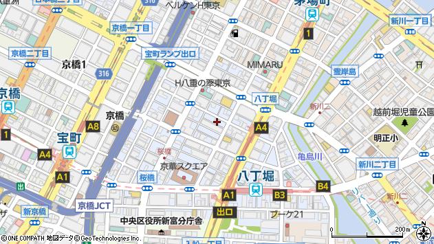 東京都中央区八丁堀2丁目16-3周辺の地図