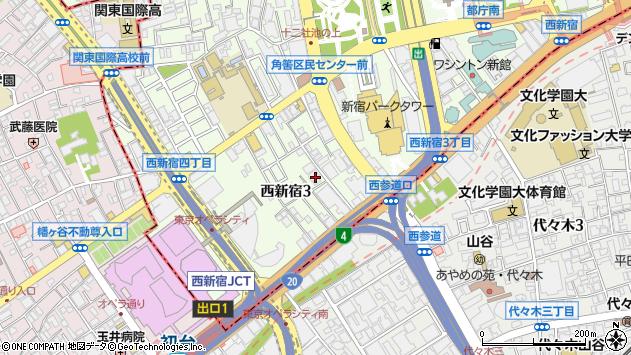 東京都新宿区西新宿3丁目周辺の地図