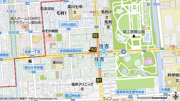東京都江東区住吉周辺の地図