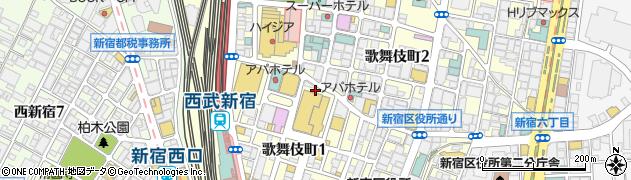 東京都新宿区歌舞伎町1丁目19周辺の地図