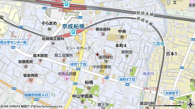 千葉県船橋市本町4丁目周辺の地図