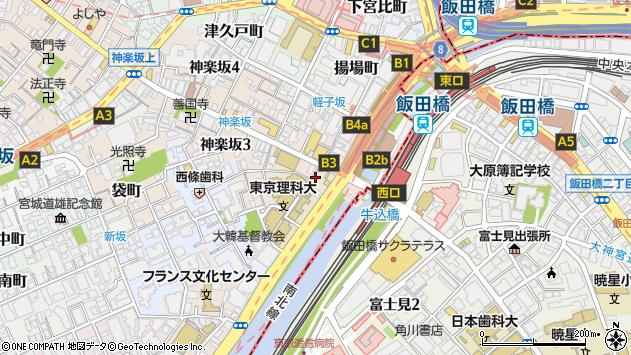 東京都新宿区神楽坂1丁目11周辺の地図