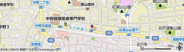 東京都中野区中野2丁目周辺の地図
