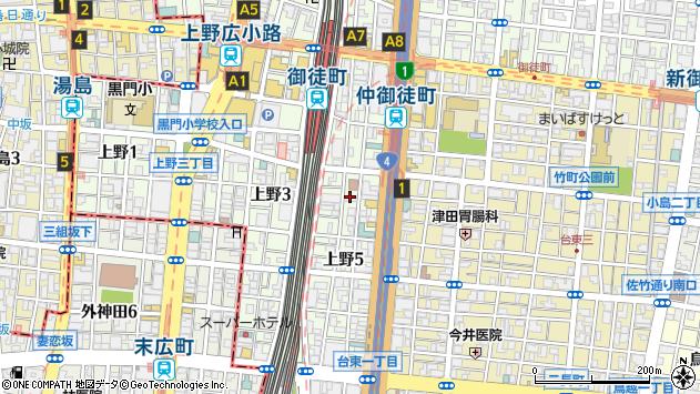 東京都台東区上野5丁目周辺の地図