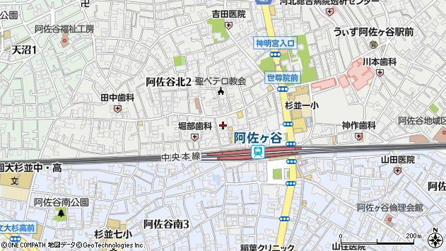 東京都杉並区阿佐谷北2丁目周辺の地図