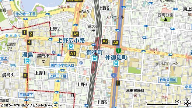 東京都台東区上野5丁目27周辺の地図