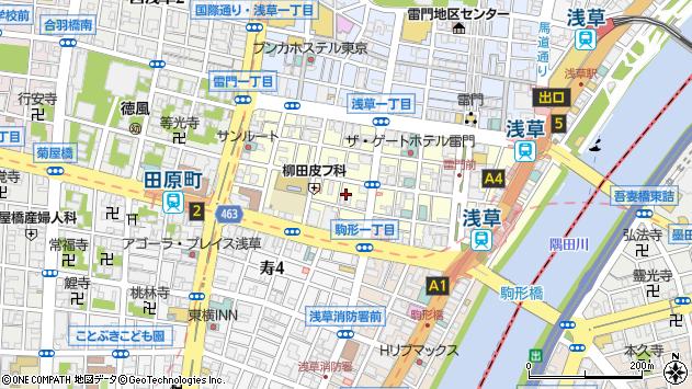 東京都台東区雷門1丁目2-5周辺の地図